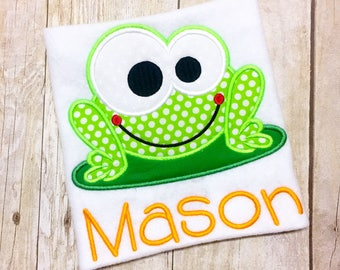 Boys Monogram Frog shirt or bodysuit - Green Frog Shirt - Lilypad - Boys Summer shirt