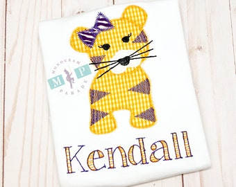 Girls Tiger Shirt - Vintage Stitch Tiger - Purple and Gold Tiger - Tiger with bow