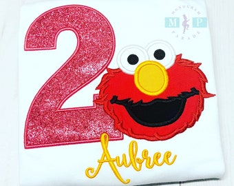 Girls Elmo Birthday Shirt or bodysuit - Elmo - Sesame Street - Monogram Birthday