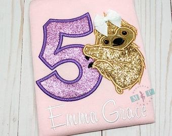 Girls Sloth Birthday Shirt - Sloth Birthday - Zoo Birthday - Animal Birthday
