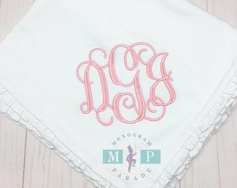 Monogram Baby Blanket - Ruffle Baby Blanket - Baby Quilt - Heirloom Blanket - Crib Blanket