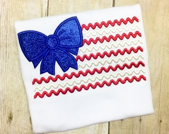 Girls American Flag shirt or onesie - Glitter 4th of July - 1st 4th of July - Fourth of July