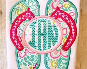 Monogrammed Flip Flops - beach trip - monogram flip flops - girls shirt - summer shirt