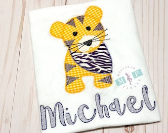 Boys Tiger Shirt - Vintage Stitch Tiger - Purple and Gold Tiger - Tiger with Bandana