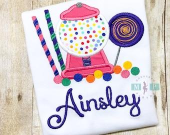Girls Candy Birthday Shirt or bodysuit - Candy birthday - candy land - gumball machine - lollipop
