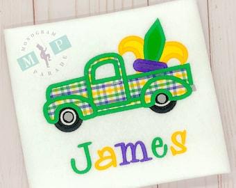 Boys Mardi Gras Shirt - Mardi Gras Truck -Fleur de lis - Vintage Truck - 1st Mardi Gras