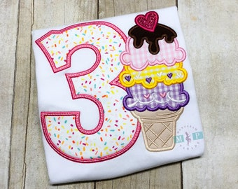 Ice Cream Birthday Shirt or Bodysuit - Ice cream parlor - girls birthday shirt - sprinkle birthday - Ice cream sundae