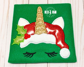 Girls Christmas Shirt - Christmas Unicorn - Santa Unicorn