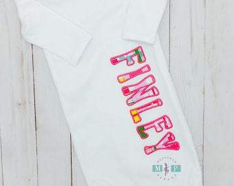 Monogrammed Baby Gown - Coming home outfit - New Baby - Baby Shower Gift - Appliqué infant gown