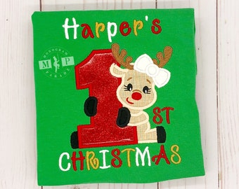 Girls 1st Christmas - First Christmas - Reindeer 1st Christmas - Monogram Christmas