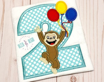 Boys Birthday Shirt - George birthday shirt - 2nd birthday shirt - monkey birthday shirt