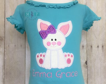 Girls Easter Shirt - Easter Bunny - Glitter Easter Shirt - Easter bunny with bow