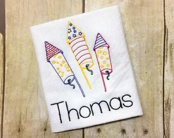 Boys Fireworks Shirt or Bodysuit - 4th of July - Fourth of July - Rockets - Vintage Stitch