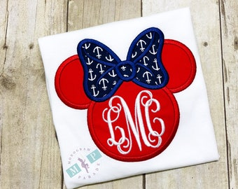 Miss Mouse Nautical Shirt or Bodysuit - Miss Mouse Monogram Shirt or Bodysuit