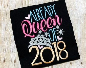 Girls New Years Eve Shirt - 1st New Years - NYE 2018 - Rhinestone New Years Shirt - Queen of 2018