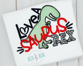Boys Valentines Shirt - Dinosaur Valentine - Loveasaurus - T-rex shirt