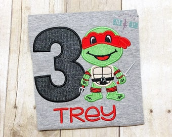 Boys Turtle Birthday Shirt - Ninja Turtle Birthday - Red Turtle - Raphael Turtle - Turtle Appliqué