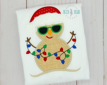 Boys Christmas snowman - beach christmas - Boys christmas shirt - sand snowman-Light up the beach - Personalized