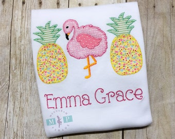 Girls Pineapple and Flamingo Shirt - Blanket Stitch - Flamingo shirt - Pineapple shirt - Girls summer shirt