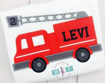 Boys Fire Truck - Fireman - Firefighter - Firefighter shirt - Fire Birthday