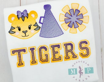 Tiger with Bow cheer leader megaphone pom pom Sketch Embroidery, Tiger Football Shirt, Monogrammed Tiger Football Shirt, Personalized