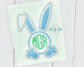 Boys Easter Bunny Shirt or Bodysuit - 1st Easter - First Easter - Monogram Bunny - Boys Easter Shirt - Easter Bunny