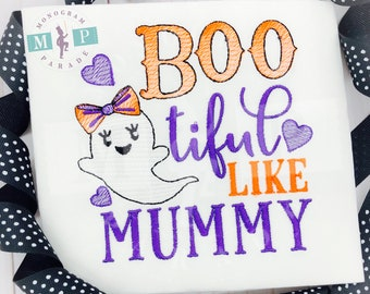 Bootiful like mummy - ghost shirt - Halloween - Trick or Treat - 1st halloween - Halloween Monogram