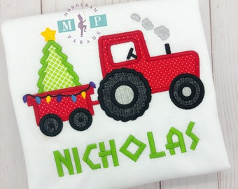 Tractor Shirt or bodysuit - Christmas shirt - Christmas tractor -christmas tree - tree farm