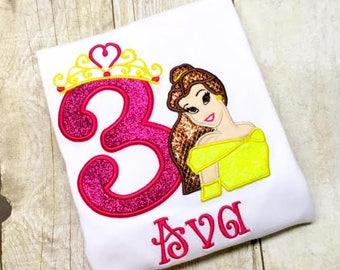 Girls Princess Birthday Shirt - Glitter Princess Shirt - Any year available