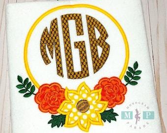 Sunflower Monogram Frame - Fall Flowers - Sunflower Shirt - Girls Fall Shirt - Monogram Flowers