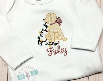 Girls Christmas Shirt - Christmas Puppy Dog - Sketch Embroidery - Dog with lights - Dog with bow - Monogram Christmas Shirt - yellow lab