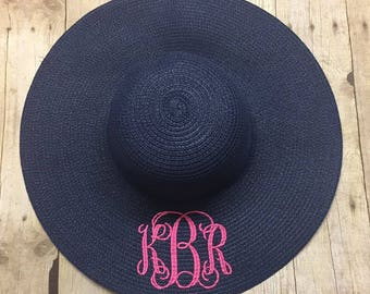 Monogram Floppy Hat - Ladies Monogram Hat - Monogrammed Hat - Floppy Hat