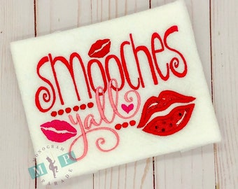 Smooches Y'all Valentine's Day Bib, Shirt or Bodysuit - Kisses - Lips - 1st Valentine's Day - Valentine's Day - Kiss me