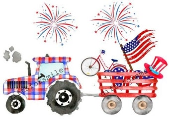 Tractor 4th of July - Independence Day - Sublimation
