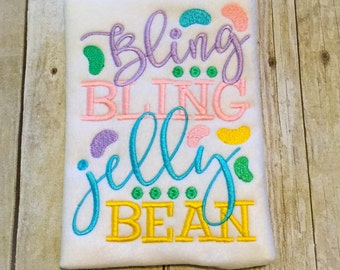 Bling Bling Jelly Bean Shirt or Bodysuit - Jelly Bean - Easter Shirt - Girls Easter - 1st Easter - Egg Hunt - Baby Easter