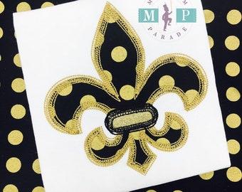 Girls Shirt - Fleur de lis - black and gold fleur de lis - scribble appliqué - fleur de lis applique