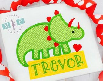 Boys Dinosaur Valentine Shirt -Triceratops - Personalized - Dinomite - Valentines Day