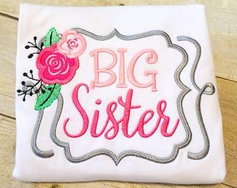 Big Sister Shirt or Bodysuit - Big Sister Flower - Monogrammed Big Sister Shirt