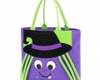 Wanda Witch Halloween Tote - Candy Bag - Trick or Treat Bag - Personalized - Trick or Treat Tote