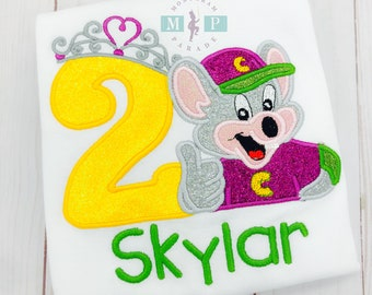 Chuck E Cheese Birthday Shirt - princess birthday - Girls Birthday Shirt - Monogrammed Birthday Shirt - Chuck E Cheese