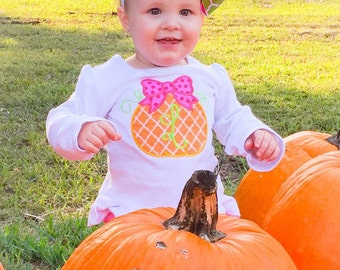 Girls monogrammed pumpkin with a bow ruffle shirt or bodysuit - fall shirt - thanksgiving shirt - girls pumpkin shirt