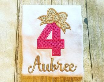 Bow Birthday Shirt or Bodysuit - Glitter Birthday - Pink & Gold Birthday - Birthday Number - Girls Birthday Shirt