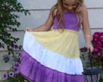 Color Blocked A-Line Girls Dress