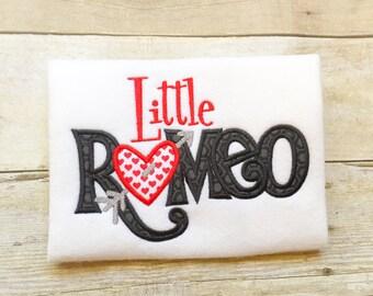 Little Romeo Bib, Shirt or Bodysuit - Boys Valentine Shirt - Romeo - 1st Valentines Day - Baby Valentines - Monogram Valentine's Shirt