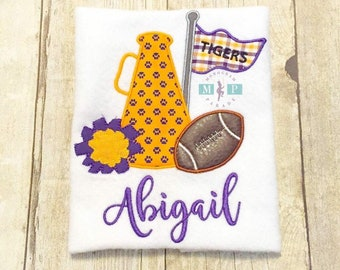 Cheerleader Megaphone Football Shirt or Bodysuit - Customize to your favorite team - Tigers - Gameday shirt - girls football shirt