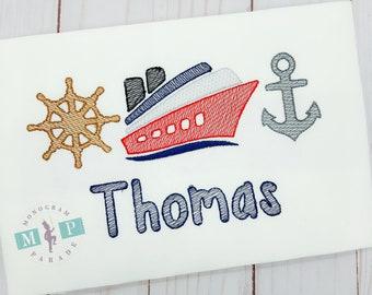 Boys cruise Shirt - 1st cruise - cruise ship - anchor - sketch embroidery