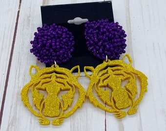Louisiana Earrings Game Day Jewelry, Louisiana Graduation Birthday Gift for Her, Pom Pom Earrings, purple and Gold Earrings - Tiger Earrings