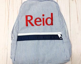 seersucker backpack - kids diaper bag - monogram backpack - kids backpack