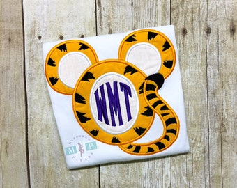 Boys Mr Mouse Tiger Shirt or bodysuit - tiger football - monogram tiger mouse