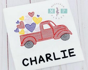 Boys Valentines Shirt - Vintage Truck - Valentine - Sketch Embroidery-Personalized